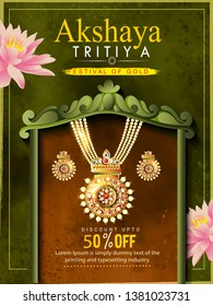 illustration of Akshaya Tritiya celebration, festival of India  jewellery Sale promotion, banner, poster