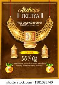 illustration of Akshaya Tritiya celebration, festival of India  jewellery Sale promotion, banner, poster