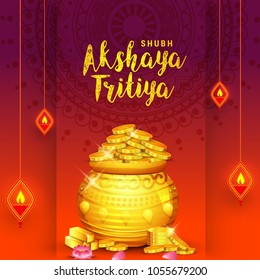 illustration of Akshaya Tritiya celebration with a golden kalash,gold bar and gold coins on decorated background.