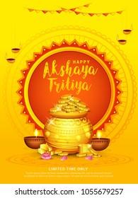 illustration of Akshaya Tritiya celebration with a golden kalash,gold bar and gold coins on decorated background.