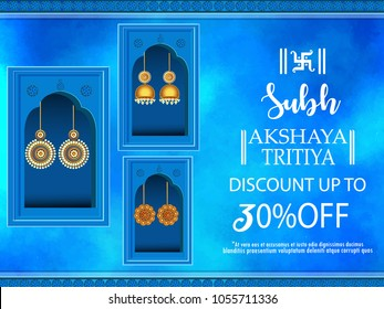 illustration of Akshaya Tritiya celebration jewellery Sale , Festival Of  Celebration Background.