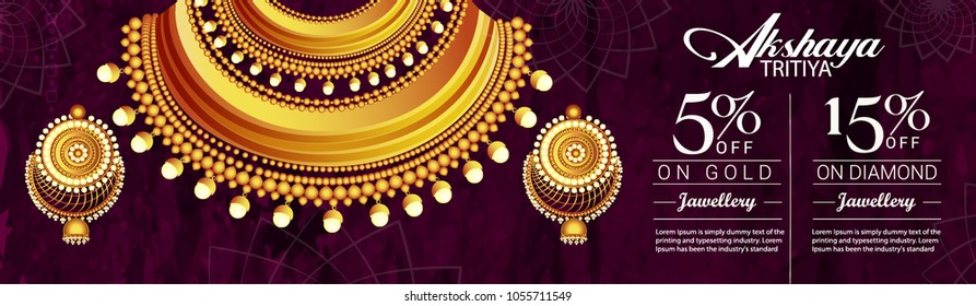 illustration of Akshaya Tritiya celebration jewellery Sale , Festival Of  Celebration Background.