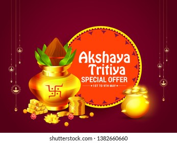 Illustration of Akshaya Tritiya Festival Offer Background with a golden kalash,gold bar and gold coins on decorated background.
