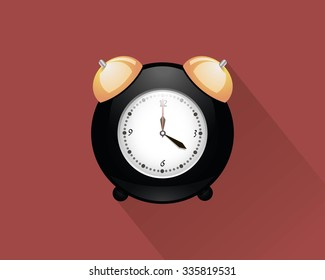 Illustration with alarm clock over a dark red background
