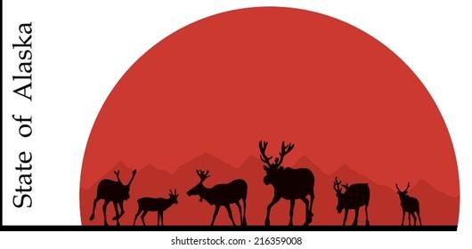 Illustration of Alaska, deer against the sun.
