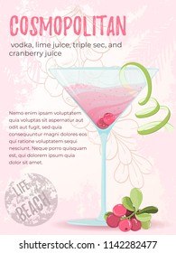 Illustration of alcohol cocktail cosmopolitan. Glass with summer cocktail, cranberry berries and lime zest with the palm frame on background. Hand drawn sketch for menu, invitation, banner, website
