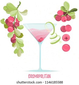 Illustration of alcohol cocktail cosmopolitan. Glass with summer cocktail, cranberry berries and lime zest isolated on white background. Hand drawn sketch for menu, invitation, banner, website