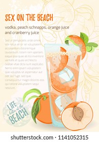 Illustration of alcohol cocktail sex on the beach. Glass with summer cocktail, sliced peaches and ice with the palm frame on background. Hand drawn sketch for menu, invitation, banner, website