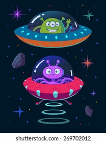 Illustration of aliens and ufo in cartoon style. Smiling peaceful martians