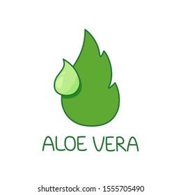 Illustration of aloe vera leaf in the form of a drop with a drop of aloe juice. Logo template. company logo design. medicinal plant, traditional medicine, skin care.