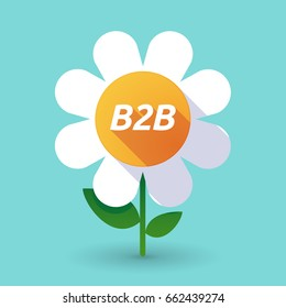 Illustration of along shadow daisy flower with    the text B2B