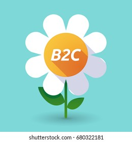Illustration of along shadow daisy flower with    the text B2C
