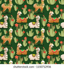 Illustration with alpaca and cactus plants. Vector seamless pattern on green background. Llama.
