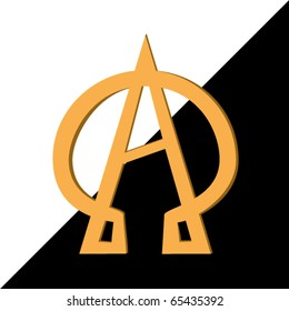 Illustration, Alpha and Omega a symbol - the beginning and the end.