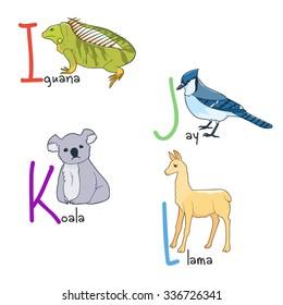 Illustration of alphabet animals  - iguana, blue jay, koala, llama