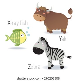 Illustration of alphabet with animals from X to Z
