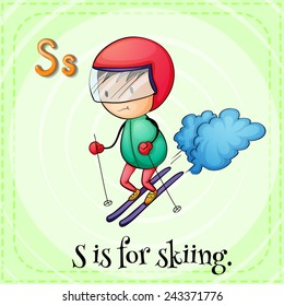 Illustration of an alphabet S is for skiing