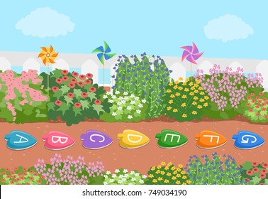 Illustration of an Alphabet Stepping Stones in the Flower Garden