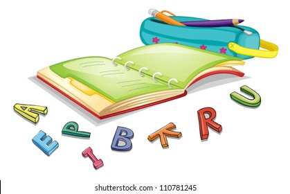 illustration of alphabets and book on a white background