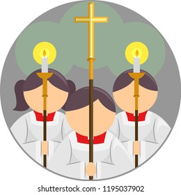 Illustration of an Altar Server Icon with a Kid Girl and Boy Holding Candles and Cross