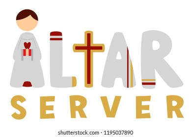 Illustration of an Altar Server Lettering with a Boy in White Alb as Letter A