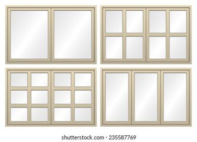 Illustration of aluminium window isolated on white background.