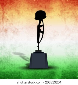 Illustration of Amar Jawan Jyoti on vintage national tricolors background for 15th of August, Indian Independence Day celebrations.