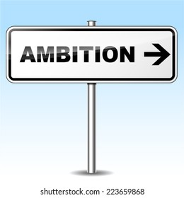 Illustration of ambition sign on sky background