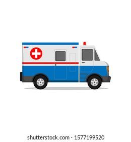 illustration ambulance flat design isolated white background