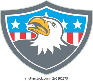 Illustration of an american bald eagle head looking up viewed from the side with american stars and stripes flag in the background set inside shield crest done in cartoon style.