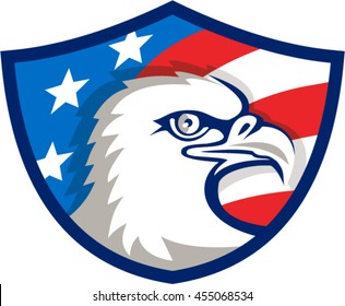 Illustration of an american bald eagle head viewed from the side with usa american stars and stripes flag in the background set inside shield crest done in retro style.