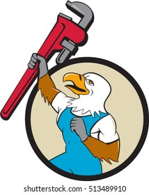 Illustration of a american bald eagle plumber raising up giant pipe wrench adjustable wrench over head looking up viewed from the side set inside circle on isolated background done in cartoon style.
