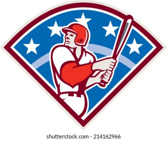 Illustration of a american baseball player batter hitter looking up holding bat ready to hit set inside diamond shape with stars and stripes in the background done in retro style.