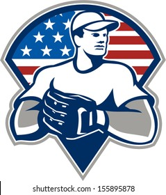 Illustration of an american baseball player pitcher outfilelder with glove set inside triangle with USA stars and stripes flag isolated on white background.