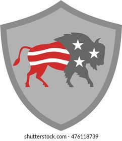 Illustration of an american bison buffalo bull with american stars and stripes flag as part of the body and head viewed from the side set inside shield crest on isolated background done retro style.