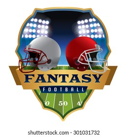 An illustration of an American fantasy football helmets and badge. Vector EPS 10. EPS file contains transparencies and gradient mesh.