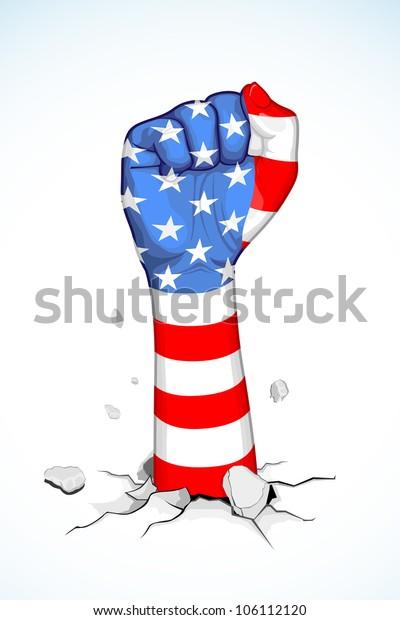 illustration of American flag print on fist