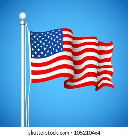 illustration of American Flag waving in sky backdrop