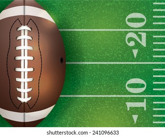 An illustration of an American football field and ball. Vector EPS 10. EPS file contains transparencies.