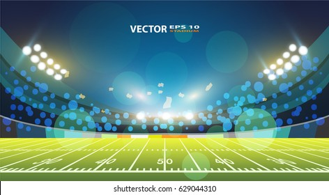An illustration of an American Football field with bright stadium lights shining on it. Vector EPS 10.