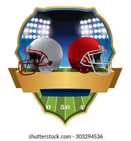 An illustration of an American football field and helmets and badge. Vector EPS 10. EPS file contains transparencies and gradient mesh.