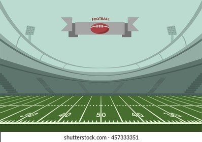 An illustration of an American Football field with  stadium . Vector EPS 10.