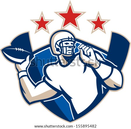 c56ae3c3786 Illustration of an american football gridiron quarterback player throwing  ball facing side set inside crest shield with stars and stripes flag done  in retro ...