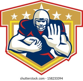 Illustration of an american football gridiron running back player running with ball facing front fending set inside shield done in retro style.
