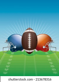 An illustration of an American Football, helmets, and field. Vector EPS 10. EPS contains transparencies.