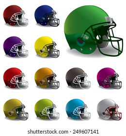 An illustration of American football helmets in various colors. EPS 10. EPS contains gradient mesh.