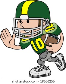 Illustration of American football player running with football