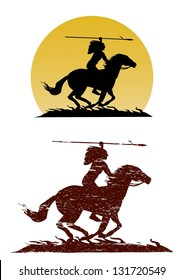 Illustration of American Indian riding horse with spear in hand, vector