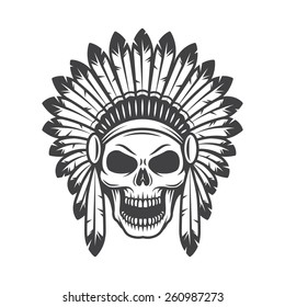 Illustration of american indian skull