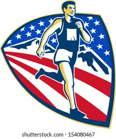 Illustration of an American marathon triathlete runner running set inside shield with mountains and stars and stripes done in retro style.
